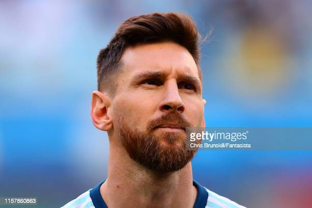 Lionel Messi of Argentina looks on during the Copa America Brazil 2019 group B match between Qatar and Argentina at Arena do Gremio on June 23 2019...