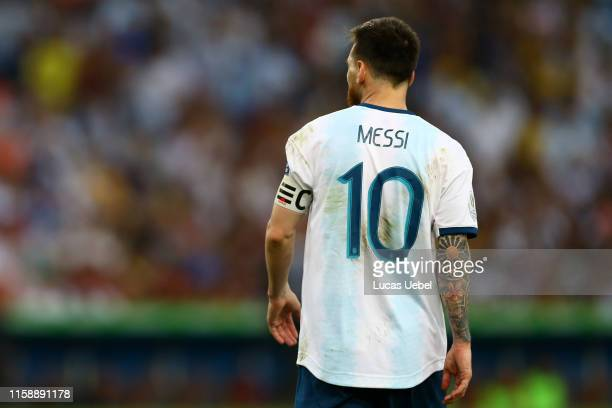 Lionel Messi of Argentina looks on during the Copa America Brazil 2019 quarterfinal match between Argentina and Venezuela at Maracana Stadium on June...