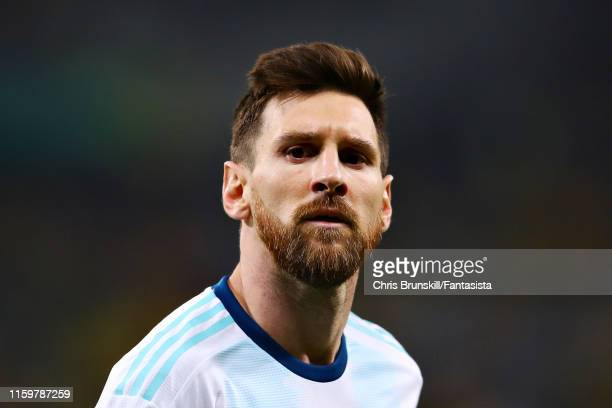 Lionel Messi of Argentina looks on during the Copa America Brazil 2019 Semi Final match between Brazil and Argentina at Mineirao Stadium on July 02...