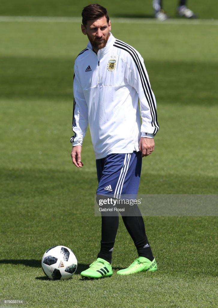 Lionel Messi of Argentina looks on during the last training session before their first game of the FIFA World Cup 2018 at Bronnitsy Training Camp on June 15, 2018 in Bronnitsy, Russia.