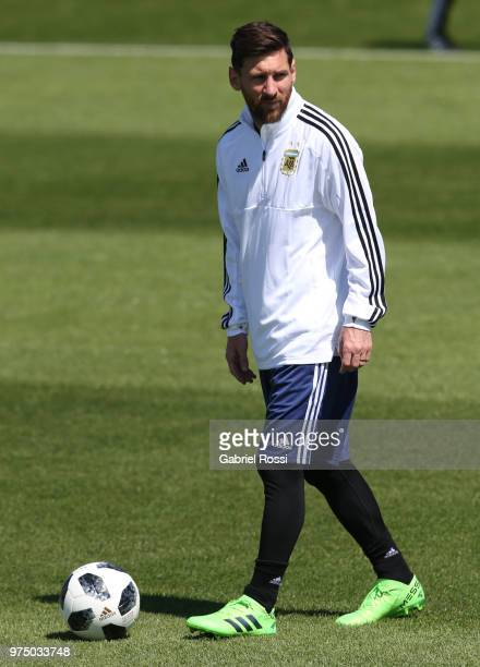 Lionel Messi of Argentina looks on during the last training session before their first game of the FIFA World Cup 2018 at Bronnitsy Training Camp on...