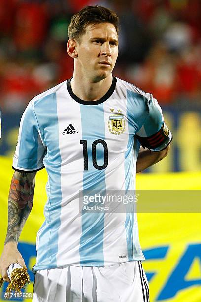 Lionel Messi of Argentina looks on during the national anthem prior a match between Chile and Argentina as part of FIFA 2018 World Cup Qualifiers at...