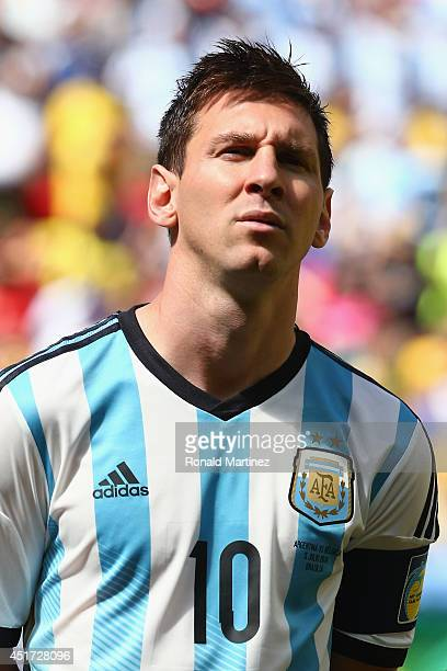 Lionel Messi of Argentina looks on during the National Anthem prior to 2014 FIFA World Cup Brazil Quarter Final match between Argentina and Belgium...