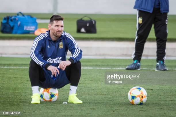 Lionel Messi of Argentina looks on during the training session of Argentina on March 19 2019 in Madrid Spain