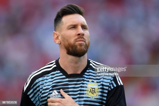 Lionel Messi of Argentina looks on during the warm up prior to the 2018 FIFA World Cup Russia Round of 16 match between France and Argentina at Kazan...