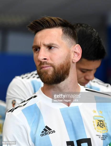Lionel Messi of Argentina looks on from the tunnel prior to the 2018 FIFA World Cup Russia Round of 16 match between France and Argentina at Kazan...