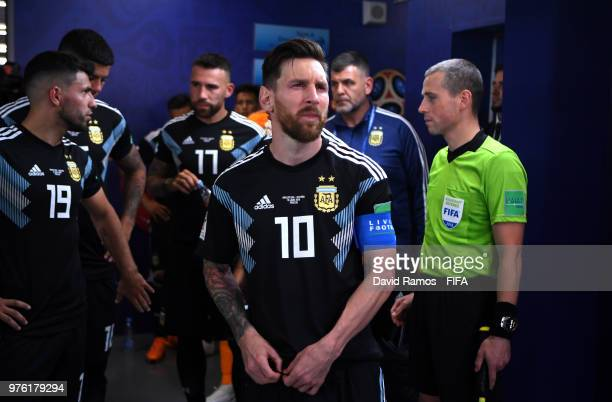 Lionel Messi of Argentina looks on in the tunnel during the 2018 FIFA World Cup Russia group D match between Argentina and Iceland at Spartak Stadium...