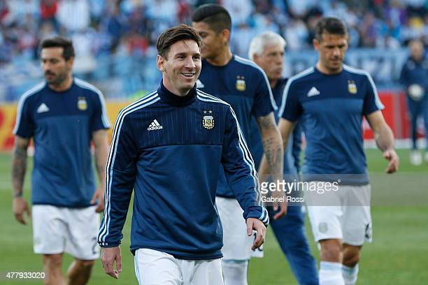 Lionel Messi of Argentina looks on prior the 2015 Copa America Chile Group B match between Argentina and Jamaica at Sausalito Stadium on June 20 2015...