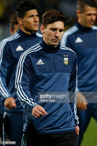 Lionel Messi of Argentina looks on prior the 2015 Copa America Chile quarter final match between Argentina and Colombia at Sausalito Stadium on June...