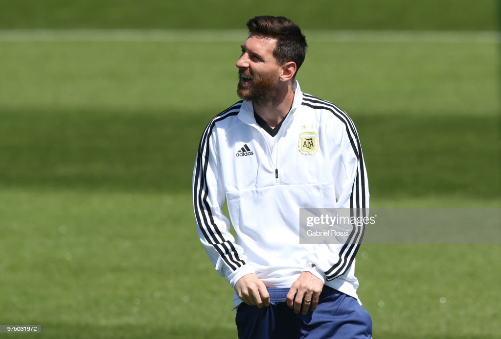 Lionel Messi of Argentina looks on prior the last training session before their first game of the FIFA World Cup 2018 at Bronnitsy Training Camp on June 15, 2018 in Bronnitsy, Russia.
