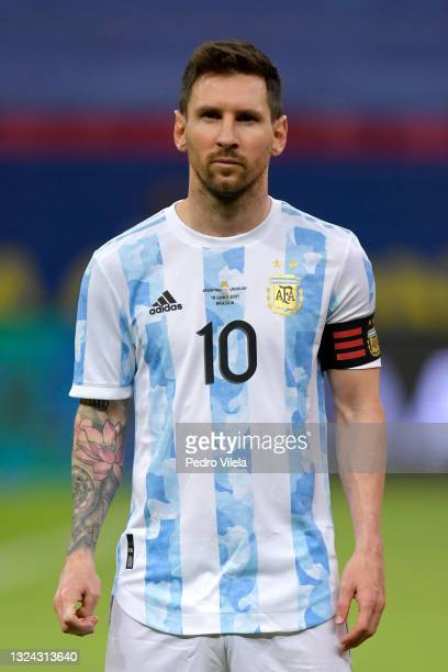 Lionel Messi of Argentina looks on prior to a group A match between Argentina and Chile as part of Conmebol Copa America Brazil 2021 at Mane...