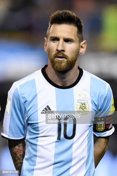 Lionel Messi of Argentina looks on prior to a match between Argentina and Peru as part of FIFA 2018 World Cup Qualifiers at Estadio Alberto J Armando...
