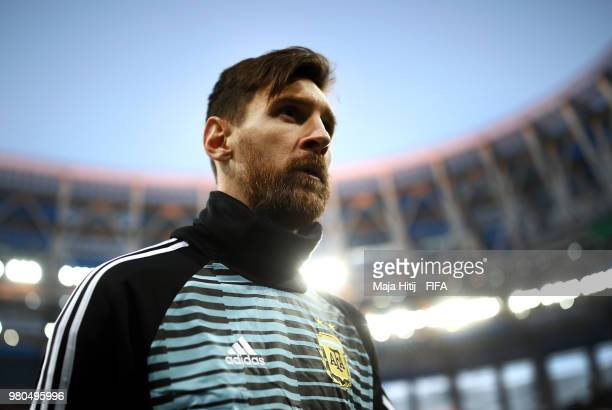 Lionel Messi of Argentina looks on prior to the 2018 FIFA World Cup Russia group D match between Argentina and Croatia at Nizhny NovgorodStadium on...