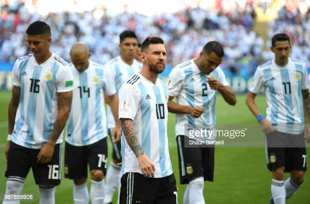 Lionel Messi of Argentina looks on prior to the 2018 FIFA World Cup Russia Round of 16 match between France and Argentina at Kazan Arena on June 30...