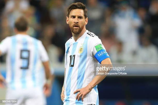 Lionel Messi of Argentina looks put out as Argentina struggle during the 2018 FIFA World Cup Russia Group D match between Argentina and Croatia at...