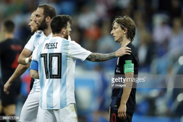 Lionel Messi of Argentina Luka Modric of Croatia during the 2018 FIFA World Cup Russia group D match between Argentina and Croatia at the Novgorod...