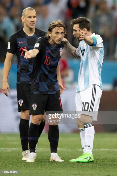 Lionel Messi of Argentina Luka Modric of Croatia during the 2018 FIFA World Cup Russia group D match between Argentina and Croatia at Nizhniy...