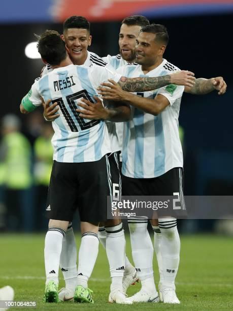 Lionel Messi of Argentina Marcos Rojo of Argentina Nicolas Otamendi of Argentina Gabriel Mercado of Argentina during the 2018 FIFA World Cup Russia...