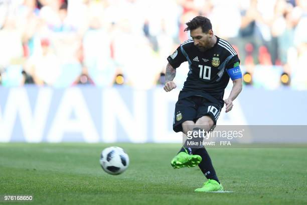 Lionel Messi of Argentina misses a penalty during the 2018 FIFA World Cup Russia group D match between Argentina and Iceland at Spartak Stadium on...