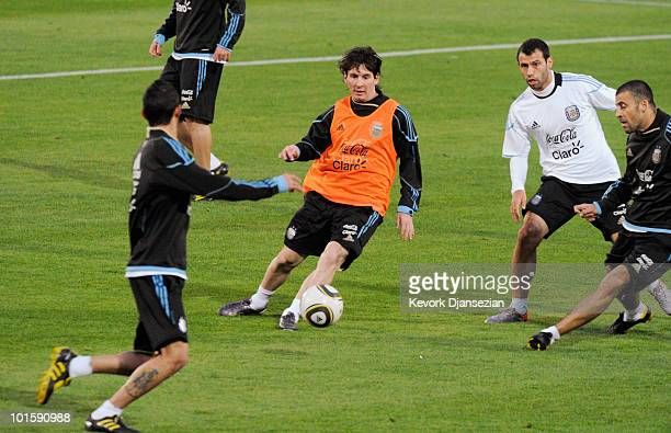 Lionel Messi of Argentina national footbal team passes the ball during training session on June 3 2010 in Pretoria South Africa Argentina opens their...
