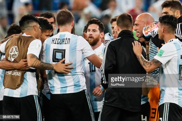 Lionel Messi of Argentina national team celebrates victory with teammates during the 2018 FIFA World Cup Russia group D match between Nigeria and...