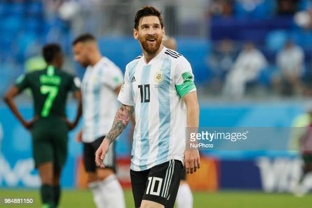 Lionel Messi of Argentina national team during the 2018 FIFA World Cup Russia group D match between Nigeria and Argentina on June 26 2018 at Saint...