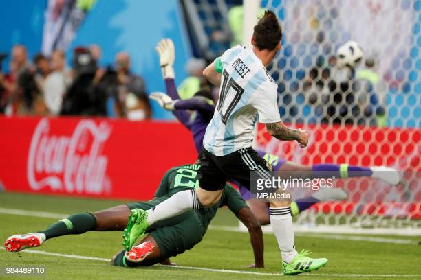 Lionel Messi of Argentina national team scores a goal during the 2018 FIFA World Cup Russia group D match between Nigeria and Argentina at Saint...