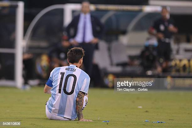 Lionel Messi of Argentina on the ground after being fouled during the Argentina Vs Chile Final match of the Copa America Centenario USA 2016...