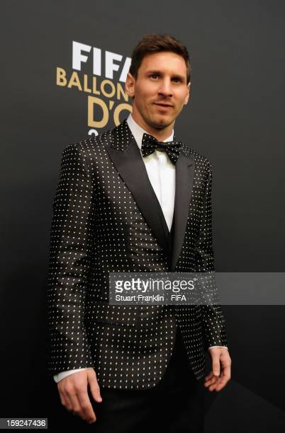 Lionel Messi of Argentina on the red carpet during the FIFA Ballon d'Or Gala 2012 at the Kongresshaus on January 7 2013 in Zurich Switzerland