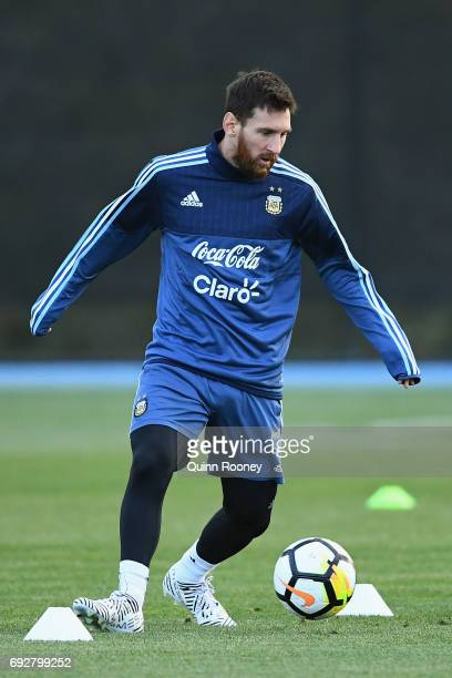 Lionel Messi of Argentina passes the ball during an Argentina Training Session at City Football Academy on June 6 2017 in Melbourne Australia