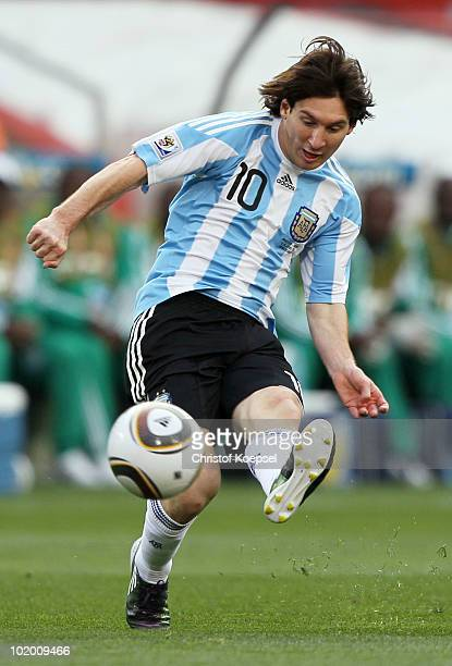 Lionel Messi of Argentina passes the ball during the 2010 FIFA World Cup South Africa Group B match between Argentina and Nigeria at Ellis Park...