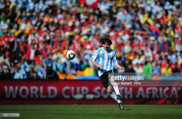 Lionel Messi of Argentina passes the ball during the 2010 FIFA World Cup South Africa Group B match between Argentina and South Korea at Soccer City...