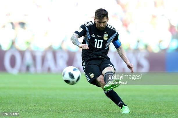 Lionel Messi of Argentina passes the ball during the 2018 FIFA World Cup Russia group D match between Argentina and Iceland at Spartak Stadium on...