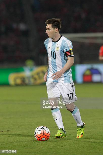 Lionel Messi of Argentina plays the ball during a match between Chile and Argentina as part of FIFA 2018 World Cup Qualifiers at Nacional Stadium on...