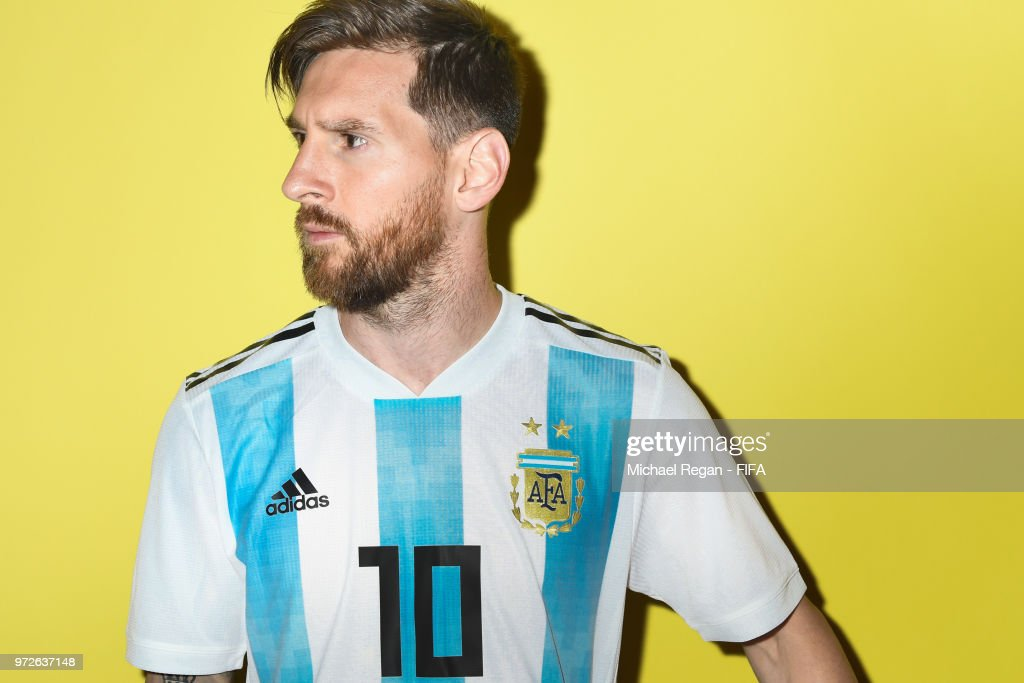 Lionel Messi of Argentina poses during the official FIFA World Cup 2018 portrait session at on June 12, 2018 in Moscow, Russia.