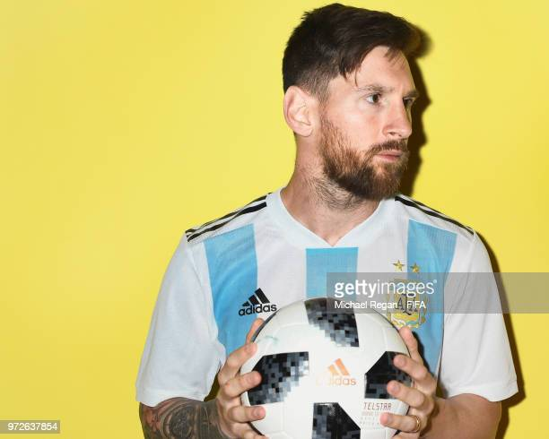 Lionel Messi of Argentina poses during the official FIFA World Cup 2018 portrait session at on June 12 2018 in Moscow Russia