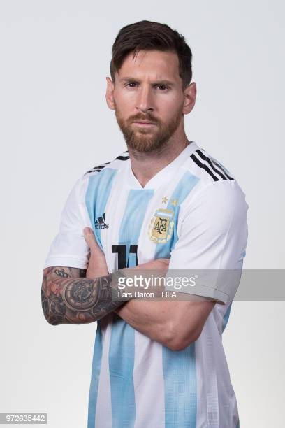 Lionel Messi of Argentina poses for a portrait during the official FIFA World Cup 2018 portrait session on June 12, 2018 in Moscow, Russia.