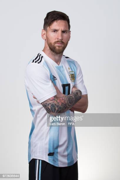 Lionel Messi of Argentina poses for a portrait during the official FIFA World Cup 2018 portrait session on June 12 2018 in Moscow Russia