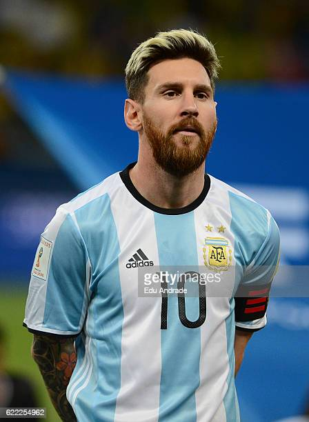 Lionel Messi of Argentina poses prior a match between Argentina and Brazil as part of FIFA 2018 World Cup Qualifiers at Mineirao Stadium on November...