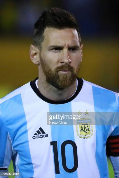 Lionel Messi of Argentina poses prior a match between Ecuador and Argentina as part of FIFA 2018 World Cup Qualifiers at Olimpico Atahualpa Stadium...