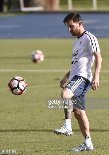 Lionel Messi of Argentina practices during a training session at Rice University in Houston Texas on June 20 2016 Arentina will face the USA in a...