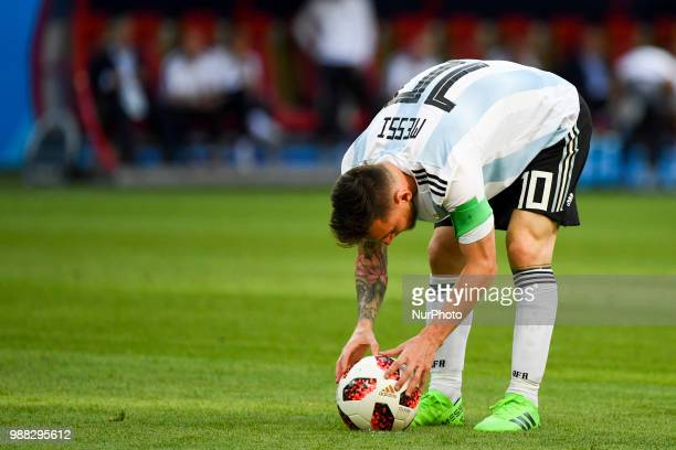 Lionel Messi of Argentina prepares for free kick during the 2018 FIFA World Cup Round of 16 match between France and Argentina at Kazan Arena in...