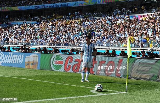 Lionel Messi of Argentina prepares to take a corner kick during the 2014 FIFA World Cup Brazil Group F match between Argentina and Iran at Estadio...