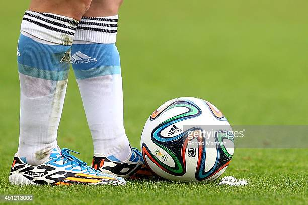 Lionel Messi of Argentina prepares to take a free kick during the 2014 FIFA World Cup Brazil Group F match between Nigeria and Argentina at Estadio...