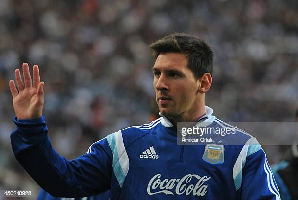 Lionel Messi of Argentina prior a FIFA friendly match between Argentina and Slovenia at Ciudad de La Plata Stadium on June 7, 2014 in La Plata,...