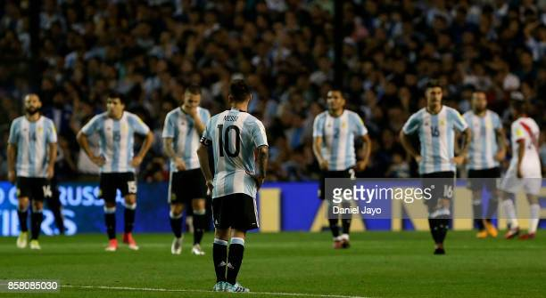 Lionel Messi of Argentina reacts after a match between Argentina and Peru as part of FIFA 2018 World Cup Qualifiers at Estadio Alberto J Armando on...