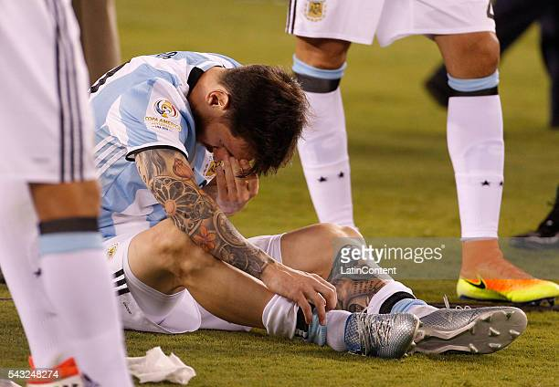 Lionel Messi of Argentina reacts after loosing the championship match between Argentina and Chile at MetLife Stadium as part of Copa America...