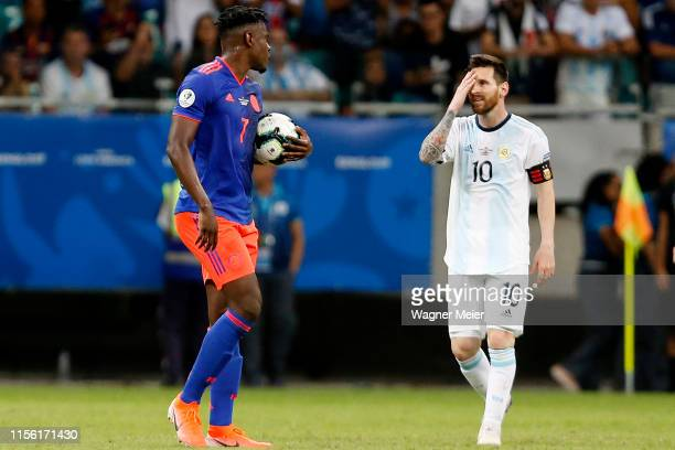 Lionel Messi of Argentina reacts after losing the Copa America Brazil 2019 group B match between Argentina and Colombia at Arena Fonte Nova on June...