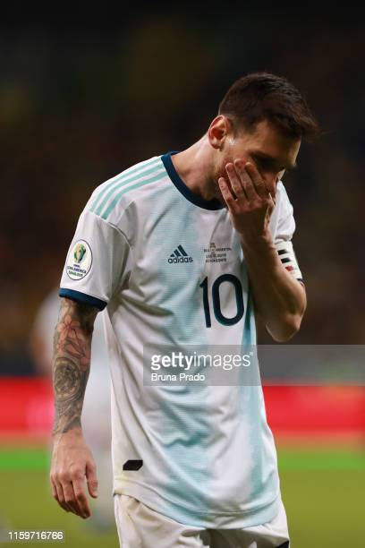 Lionel Messi of Argentina reacts after losing the Copa America Brazil 2019 Semi Final match between Brazil and Argentina at Mineirao Stadium on July...