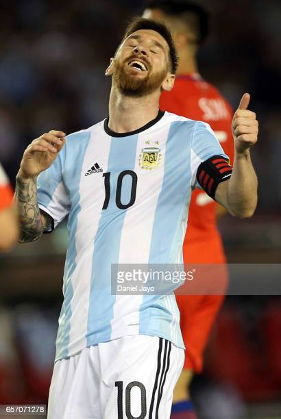 Lionel Messi of Argentina reacts after missing a chance to score during a match between Argentina and Chile as part of FIFA 2018 World Cup Qualifiers...